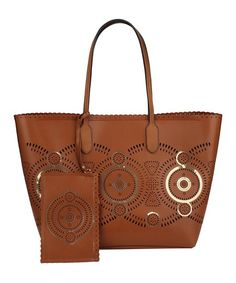 Handbag Republic Brown Laser Cut Tote & Clutch   zulily