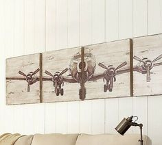 Shop planked airplane panels from Pottery Barn. Our furniture, home decor and accessories collections feature planked airplane panels in quality materials and classic styles. Airplane Wall Art, Wooden Airplane, Airplane Decor, Boys Airplane Room, Panel Wall Art, Diy Wall Art, Wall Decor, Room Decor, Diy Art