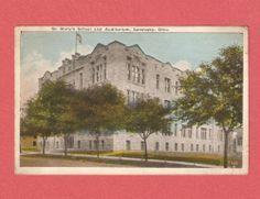 ST. MARY'S SCHOOL AND AUDITORIUM SANDUSKY OHIO PHOTO POSTCARD Sandusky Ohio, Auditorium, Photo Postcards, Mary, Spaces, School, World, Painting, Painting Art