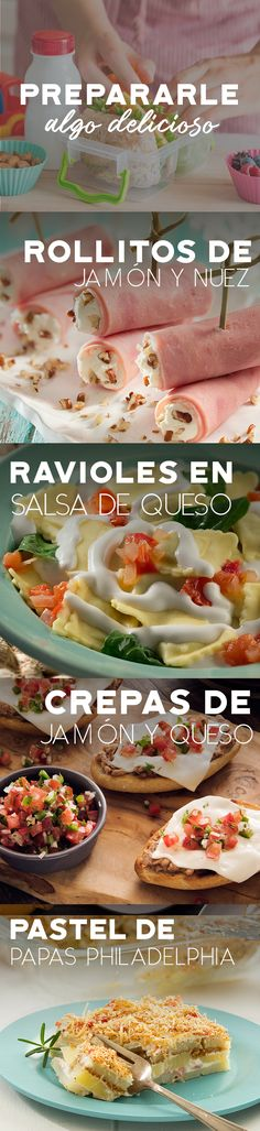 Ideas para prepararle a tu peque. #recetas #receta #quesophiladelphia #philadelphia #crema #quesocrema #queso #comida #almuerzo #lunch #mama #colegio #escuela #hijo #jamon #ravioles Food C, Love Food, Kitchen Recipes, Cooking Recipes, Healthy Recipes, Crepes, Mexican Food Recipes, Ethnic Recipes, Food Tasting