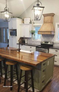 Farmhouse Kitchen Island, Kitchen Island Decor, Modern Kitchen Island, Kitchen Redo, New Kitchen, Kitchen Design, Kitchen Islands, Kitchen Ideas, Homemade Kitchen Island
