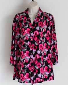 Notations Woman Size 3X Button Down Stretch 3/4 Sleeve Top Floral Pink Black #Notations #ButtonDownShirt #Career