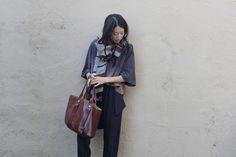 Momoko Suzuki by Jeana Sohn, pictured with Clare Vivier La Tropezienne bag.