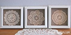 Vintage Thrift Store Doilies displayed in shadow boxes.