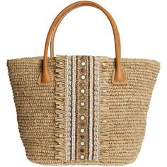SKEMO Quenby Shell Embellished Straw Tote ($275) ❤ liked on Polyvore featuring bags, handbags, tote bags, purses, natural, brown tote bags, brown handbags, beach tote bags, tote purses and straw handbags