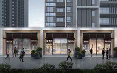 Hotel Design Architecture, Industrial Architecture, Facade Architecture, Mall Facade, Retail Facade, Commercial Complex, Commercial Street, Shop Front Design, House Design