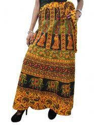 Womens Wrap Skirt Yellow Elephant Print Cotton Maxi Skirts