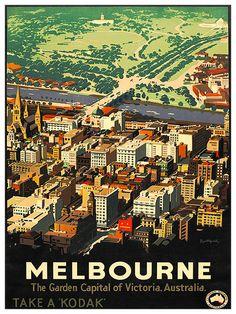 Australie voyage Vintage Art Melbourne Poster par Blivingstons 7€