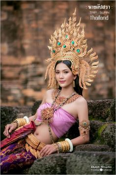 Traditional Thai Clothing, Traditional Dresses, Thailand Costume, Thai Wedding Dress, Enjoy Girl, Glamour World, Thai Fashion, Thai Dress, Saree Photoshoot