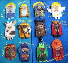 Felt Finger Puppet Nativity - some good ideas to use for hand puppets