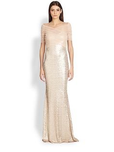 Badgley Mischka - Tulle Crossover Sequin Gown - Saks.com