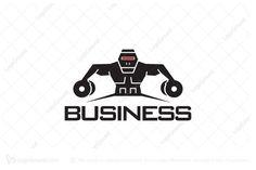 Logo for sale: Robot Gym Logo by SimplePixel, uploaded on Logo design of a robot lifting dumbbells. Gym Logo, Robots, Logo Design, Robot