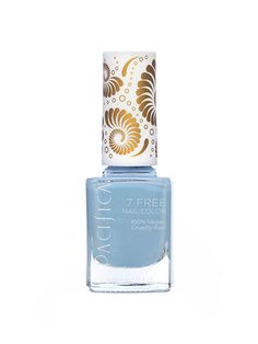 Pacifica 7 Free Nail Color in Pale Blue Eyes You can call them natural and overachievers. Pacifica's seven-free formulation is free of phthalates, toluene, xylene, parabens, camphor, formaldehyde, resin and animal by-products, offering one of the most natural formulas you can find. We love this dreamy periwinkle shade for spring and summer, although you should make sure to apply three coats to keep it streak-free.
