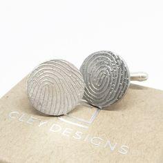 Flat Fingerprint Cufflinks