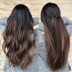 Straight knot VS beach Wave 8 Hours color and cut by Andrew Mager. - Straight knot VS beach Wave 8 Hours color and cut by Andrew Mager… -… Straight knot VS beach Wave 8 Hours color and cut by Andrew Mager… – Brown Hair Balayage, Hair Color Balayage, Brown Blonde Hair, Brown Highlights On Black Hair, Balayage Hair Brunette Straight, Caramel Balayage Brunette, Straight Ombre Hair, Brunette Ombre, Brown Hair Id