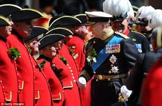 Inspection: The Duke of York inspects some of the Chelsea veterans ahead of the Founder's Day Parade
