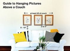 Here's an easy guide to hang pictures above a couch, sofa, lounge chair etc...