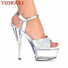 Hate Day 15cm High Nightclub Ultra Fine With Waterproof Big Yards Of Dance Shoe Fashion Style Spring High Transparent Crystal Sandals Calendars, Planners & Cards