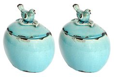 "S/2 6"" Oval Decorative Bird Jars, Blue on OneKingsLane.com"