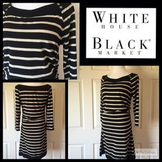 """WHITE HOUSE BLACK MARKET DRESS Black and gold shimmer stripes on this White House Black Market dress, In like new condition. Ruching at the hips. So soft and has the look of a light weight sweater dress. Size Large. 38"""" length 19"""" sleeve and the bust measures 38 inches. 82% rayon 8% polyester and 7% spandex and 3% other fibers. Machine wash this beauty in cold water and hang to dry. No trades or PayPal. White House Black Market Dresses"""