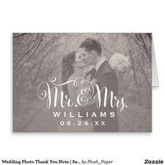 Wedding Photo Thank You Note   Sepia Folded Style Stationery Note Card