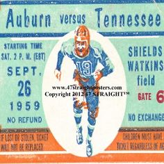 Tennessee football ticket coasters, Christmas football gift idea, football gift ideas. Christmas football gifts!  http://www.christmasfootballgifts.com/  Vintage football art made from authentic football tickets. The best Christmas football gifts for football fans! #47straight #gifts #Christmasgiftideas