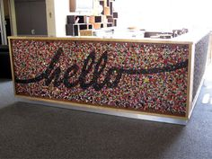 I am in awe of this amazing giant button mosaic created by Jo of Button Candy and Angie of Lucky Pony. Angie and i were given the task to do WHATEVER we wanted to the front bar counter at work. Lucky us, we decided to stick down 4261 buttons (i …