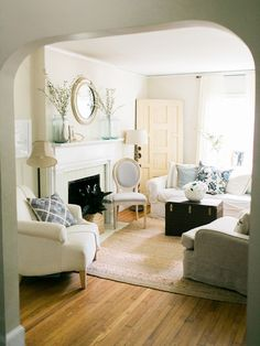 cozy, neutral living room | Ashley Bosnick