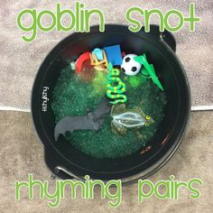 Goblin snot rhyming pot Jelli Baff and objects to pick out. Poetry Activities, Nursery Activities, Rhyming Activities, Phonics Reading, Phonics Activities, Halloween Activities, Halloween Fun, Preschool Halloween, Classroom Activities