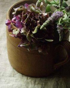 Violet + Kaki + Antique pot