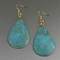 Copper Earrings / They'll all be envious of your fabulous fashion sense when you wear these beautiful Apple Green patinated copper tear drop earrings. Creating a striking accent to any outfit, no two earrings are alike, making them truly unique. $55
