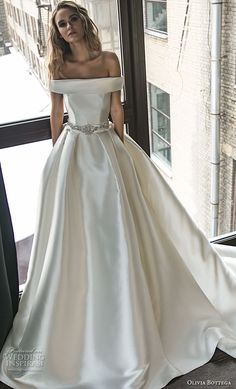 olivia bottega 2018 bridal off the shoulder straight across neckline simple clean elegant classic elegant ball gown a line weding dress with pockets chapel train (5) mv -- Olivia Bottega 2018 Wedding Dresses