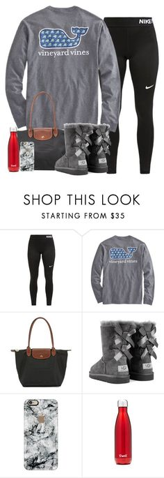 Untitled #287 by valerienwashington ❤ liked on Polyvore featuring NIKE, Longchamp, UGG Australia, Casetify and S'well