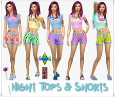 Annett`s Sims 4 Welt: Night Tops & Shorts for Women • Sims 4 Downloads