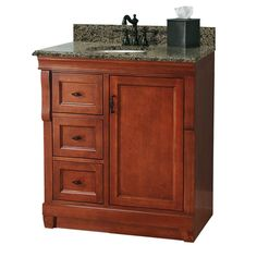 Home Decorators Collection Naples 31 in. W x 22 in. D Bath Vanity with Left Drawers in Warm Cinnamon with Granite Vanity Top in Beige - The Home Depot Small Bathroom Sink Vanity, Vanity Sink, Bath Vanities, Bathroom Ideas, Bathroom Makeovers, Bathroom Remodeling, 30 Inch Vanity, Granite Vanity Tops, Concealed Hinges