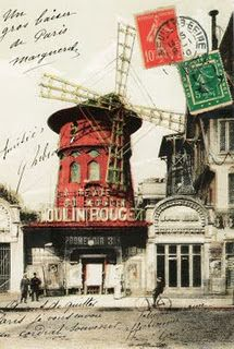 Vintage postcard of the Moulin Rouge, bought on honeymoon in Paris, 2011.