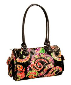 Take a look at this Black & Purple Leather Hand-Painted Paisley Shoulder Bag by Biacci on #zulily today!
