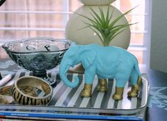 Funky elephant planter. You'll never guess what it's made from! Photo by Hi Sugarplum!