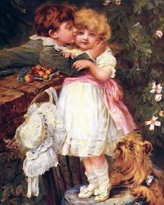art victorian children | Art Print Victorian Sweethearts Young Love Children Boy Kissing Girl ...