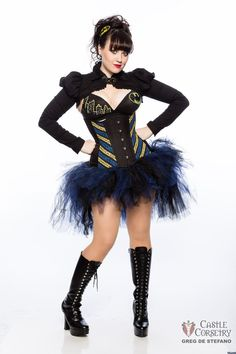 This is one of my favorite Batman looks I've ever seen for a girl & something I'm hoping to put together similarly. Sad I don't have those boots anymore. Batman Stripes Long Line Corset by CastleCorsetry on Etsy, $250.00