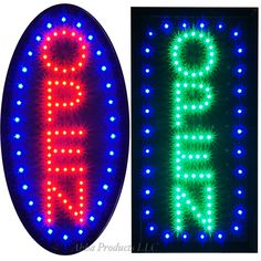 """2 Bright Vertical LED Open Business neon Bar Restaurant Store Shop Signs 19x10"""" #AhhaProducts"""