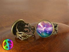 Unicorn Pegasus (1) Adjustable Ring Rings Vintage Antique Womens Jewelry Gift