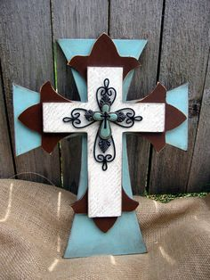 Blue And Brown Hand Painted Wooden Cross