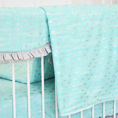 Aqua and Silver Sparkle Ruffle Baby Bedding   Gray and Aqua Blanket