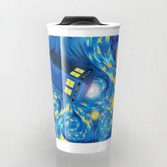 Blue Phone box Starry the night Travel mug #travelmugs #tardis #doctorwho #vangogh #starrynight #phonebooth