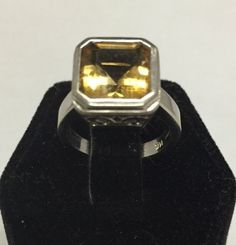 Gorgeous Designer Symmetry 4.0ct Citrine 14K White Gold Ring Size 5.25 #Symmetry