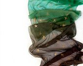 Ombre silk scarf.Hand painted silk chiffon scarf with golden stars.Woman fashion scarf in green and brown
