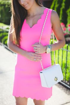 pink scallop dress, preppy pink outfits, preppy summer outfits, white tory burch crossbody bag, lace up heels // @asoutherndrawl