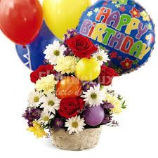 Its their birthday! Send flowers with balloons! This birthday cheer basket holds a bevy of happy blooms - vivid red roses, carnations, daisy poms and purple monte casino. Latex balloons and a Happy Birthday mylar float above the basket. Late Birthday Wishes, Birthday Cheers, Birthday Wishes And Images, Happy Birthday Flower, Birthday Bouquet, Birthday Blessings, Happy Birthday Pictures, Happy Birthday Gifts, Birthday Celebration