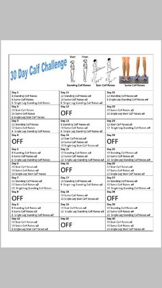 30 day calf challenge!
